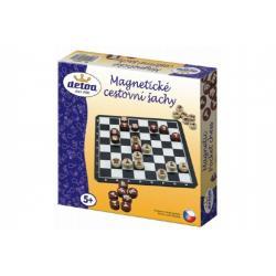 Magnetické cestovní šachy dřevěné kameny společenská hra v krabici 20x20x4cm