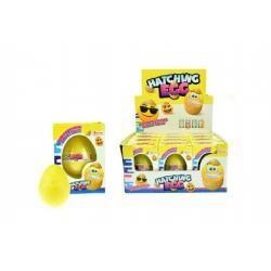 Rostoucí a líhnoucí vejce smajlík plast 6cm asst 3 druhy v krabičce 7x10x5cm 12ks v boxu