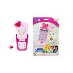 Telefon Mobil s princeznami plast 14cm na baterie se světlem se zvukem na kartě