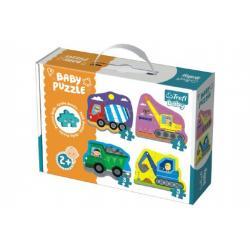 Puzzle baby Stavební Auta 4ks v krabici 27x19x6cm 24m+