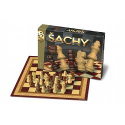 Šachy dřevěné figurky společenská hra v krabici 33x23x3cm