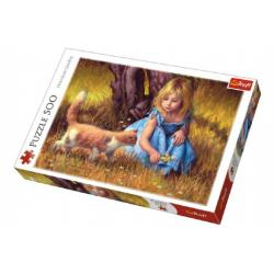 Puzzle Holčička s kočkou malované 500 dílků 48x34cm v krabici 40x27x4,5cm