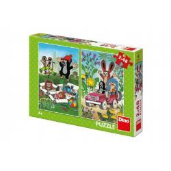 Puzzle Krtek se Raduje 2x48 dílků 18x26cm v krabici 27x19x4cm