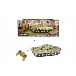 Tank RC na dálkové ovládání plast 22cm na baterie se světlem se zvukem v krabici 34x14x14cm