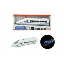 Vlak plast 21cm na setrvačník na baterie se světlem se zvukem v krabičce 24x10x7cm