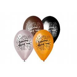 Balonek/Balonky nafukovací 11'' průměr 30cm Šťasný Nový rok 6ks v sáčku