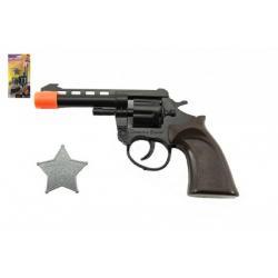 Pistole/Kolt na kapsle 8 ran + šerifská hvězda kovboj plast 18cm na kartě