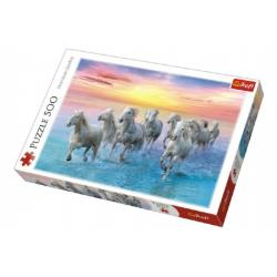 Puzzle Cválající bílé koně 500 dílků 48x34cm v krabici 40x27x4,5cm