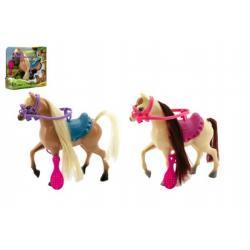 Kůň česací s doplňky plast 16cm asst 2 barvy v krabici 17x17x5cm