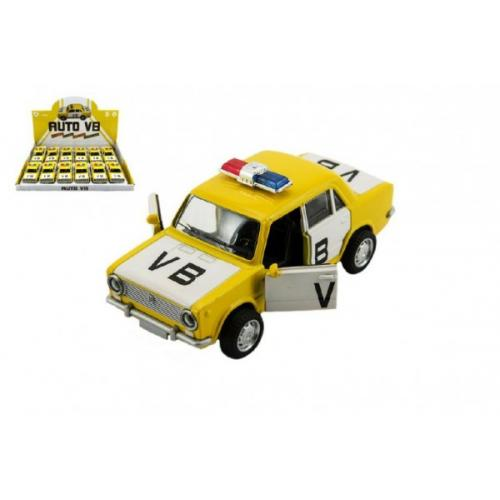 Auto policie VB Lada 1200 VAZ  kov 12cm na baterie se zvukem a světlem na zpětný chod 12ks v boxu
