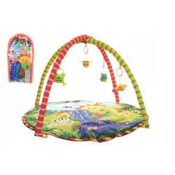 Hrací podložka/Hrazda pro děti a chrastítky plyš/plast v plastové tašce 38x68x6cm 18m+