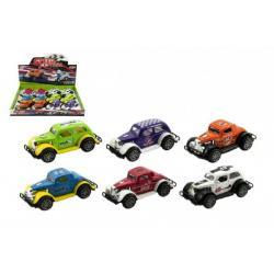 Auto závodní kov/plast 9cm asst mix barev na zpětné natažení 12ks v boxu