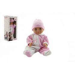 Panenka/Miminko Hamiro 40cm, pevné tělo overal bílorůžový + čepice růžová v krabici 20x43x13cm