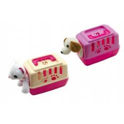 Zvířátko pejsek plyš v přenosném boxu plast 15cm asst mix barev 12ks v boxu