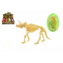 Dinosaurus ve vajíčku model plast asst 4 barvy 12ks v boxu