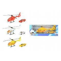 Vrtulník/Helikoptéra s autem kov/plast 20cm asst 3 barvy v krabičce 25x10x5cm