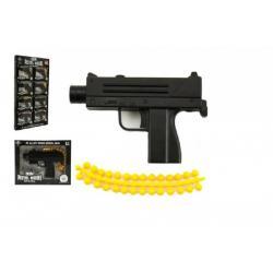 Pistole kov/plast 10cm na měkké kuličky asst mix druhů v krabičce 8ks v boxu