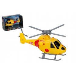 Vrtulník/helikoptéra záchranářský plast 20cm na baterie se světlem se zvukem v krabici