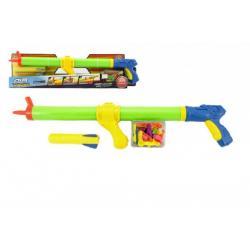 Vodní pistole stříkací pumpa 3v1 + vodní bomby a raketa plast 60cm v krabici