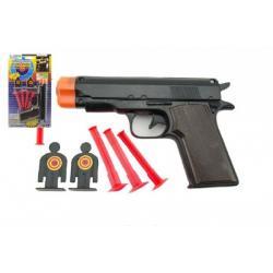 Pistole s přísavkami plast 15cm na kartě