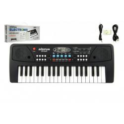 Piánko/Klávesy 37 kláves, napájení na USB + přehrávač MP3 + mikrofon plast 40cm v krabici
