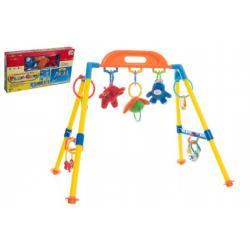 Hrazda pro děti plast/plyš zvířátka+chrastítka v krabici 51x28x6cm 0m+
