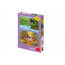 Puzzle Krtek a Perla 26x18cm 2x48 dílků v krabici 27x19x4cm