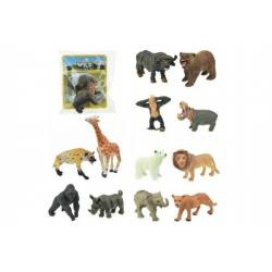 Zvířátko safari ZOO plast 6cm asst 12 druhů v sáčku 36ks v boxu