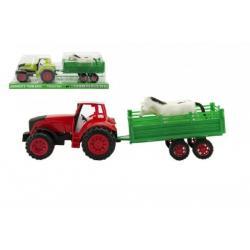 Traktor s vlečkou a zvířaty plast 32cm asst 2 barvy na setrvačník v blistru