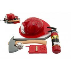 Sada hasič helma + doplňky plast 35cm v síťce