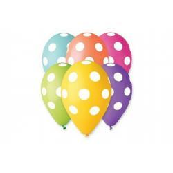 Balonek nafukovací puntík 12'' průměr 30cm 5ks v sáčku