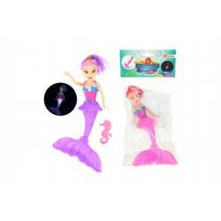 Panenka mořská panna plast 18cm na baterie se světlem asst 2 barvy v sáčku