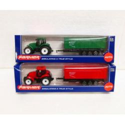 Traktor s vlečkou plast 22cm asst 2 barvy v krabici 26x7x6cm
