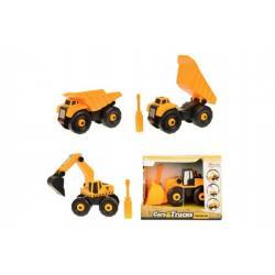 Stavební stroje auto šroubovací plast 15cm asst 3 druhy v krabičce 18x13x10cm