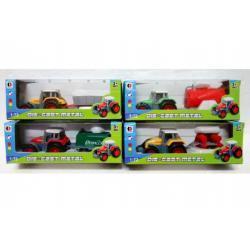 Traktor s vlekem kov 12cm asst mix druhů v krabičce 12ks v boxu
