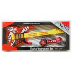 Kytara s mikrofonem plast 54cm na baterie se zvukem se světlem v krabici 61x26x6cm