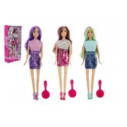 Panenka kloubová Anlily s barevnými vlasy plast 30cm asst 3 barvy v krabici 15x32x6cm