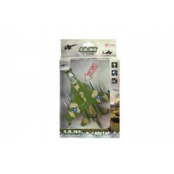 Letadlo stíhačka kov/plast 18cm na baterie se zvukem se světlem asst 2 barvy v krabičce 13x22x5cm