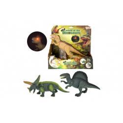 Dinosaurus chodící plast 25cm na baterie se zvukem se světlem asst 3 druhy v krabici 24x25x8cm
