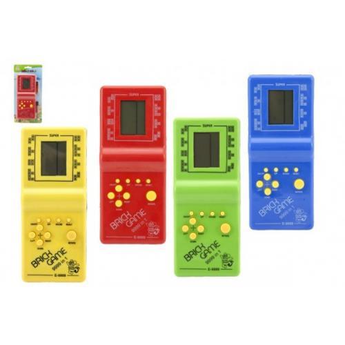 Digitální hra Brick Game Tetris hlavolam plast 18cm na baterie 4 barvy na kartě