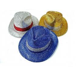 Klobouk party s pruhem se třpytkami plast 30cm asst 3 barev karneval