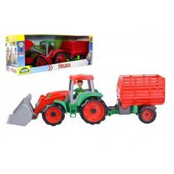 Auto Truxx traktor nakladač s přívěsem na seno s figurkou v krabici 53x19x16cm 24m+