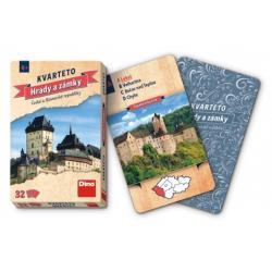 Kvarteto Hrady a zámky společenská hra karty 32ks v papírové krabičce 7x11x1cm