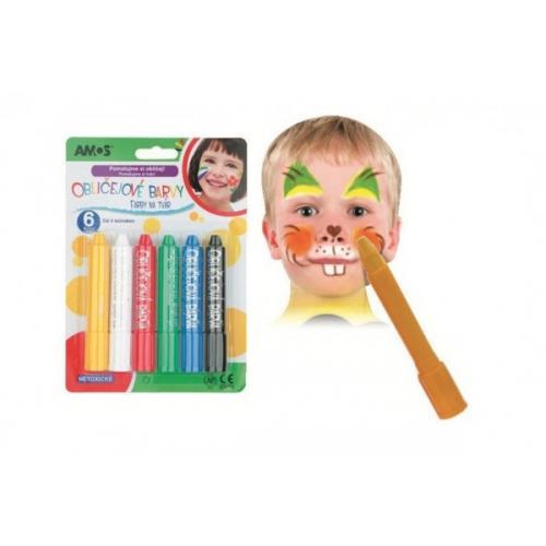 Barvy obličejové v tužce 6ks na kartě 14x20cm karneval