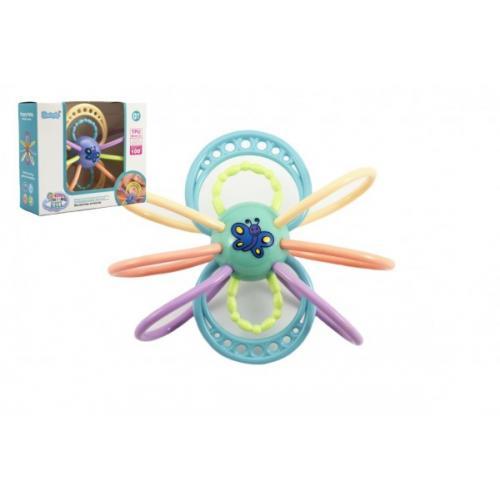 Chrastítko/kousátko motýl plast s kroužky asst 3 barvy v krabičce 17x15x7cm 10m+