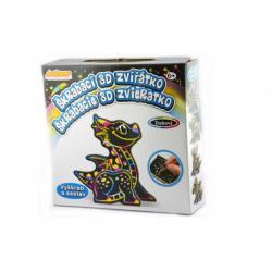 Škrabací 3D obrázek duhový drak 12x9cm v krabičce 15x15x4cm