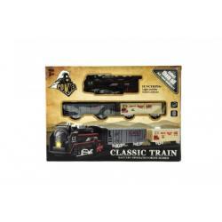 Vlak + vagónky a koleje plast na baterie se světlem v krabici 30x22x4cm