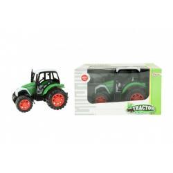 Traktor na setrvačník plast 14cm v krabičce 19x11x11cm zelený