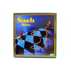 Šach+dáma+mlyn verze SK společenská hra v krabici 22x23x2cm