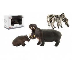Zvířátka safari ZOO 11cm sada plast 2ks 2 druhy v krabičce 16x11x9,5cm